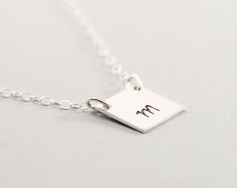 Personalized necklace for men - initial necklace square sterling silver jewelry letter pendant gift