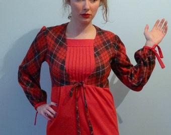 70 Mod red black tartan plaid bow tie bib front dress S