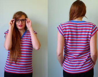 70s blue red white nautical striped short sleeved sweater M