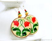 Spring Tulips Earrings, Round decoupage earrings Art Nouveau Ornament  ,  gift for her under 25