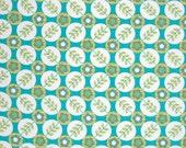 18 x 20 LAMINATED cotton fabric - Floradots turquoise aqua La Dee Da (aka oil cloth vinyl slicker coated fabric) BPA free