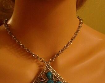 Vintage Faux Turquoise Corn Necklace