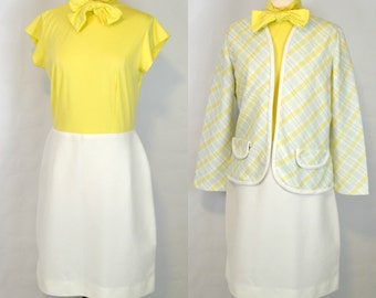 1970s Yellow Bodice and White Skirt Dress and Striped Jacket by Dimension V