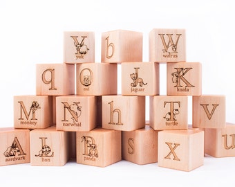 26-piece ANIMAL ALPHABET hardwood block set - all natural, heirloom, and educational wooden toy set - with options to PERSONALIZE