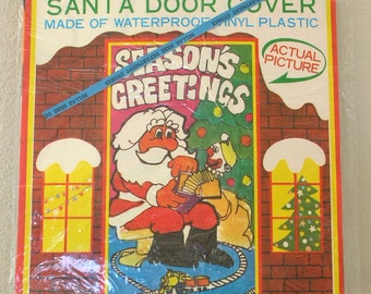 6 Ft Door Cover Christmas Santa Claus UNOPENED Made in Japan Waterproof Vinyl Seasons Greetings from The Back Part of the Basement