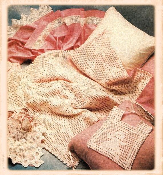 Filet Crochet Baby Bib Patterns : Instant download PDF Vintage Eighties Filet Crochet ...