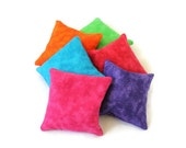 Rainbow Bean Bags Green Blue Purple Pink Red Orange Bright Childs Toy Homeschool Rice-filled Bean Bags (set of 6) - US Shipping Included