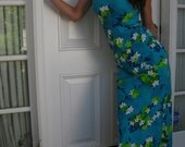 90's Turqoise Floral Beach Sundress Size Small
