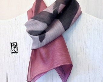 Gift Wrapped Mens Wool Scarf, Hand painted Japanese Scarf, Bushido 勇, Courage. Ombre Scarf, gray, Approx 11x59 inches.