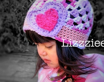 Crochet hat pattern - Little Sweethearts crochet beanie hat PDF Pattern - Newborn baby toddler child adult sizes  - 12mo 18mo 2t 3t