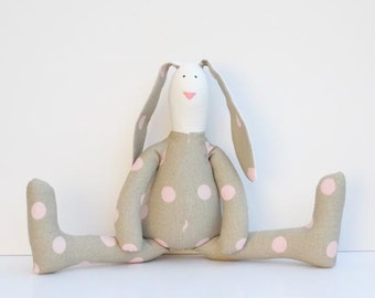 Stuffed rabbit bunny toy taupe pink polka dots hare plush bunny doll softie stuffed toy baby shower nursery decor and birthday gift