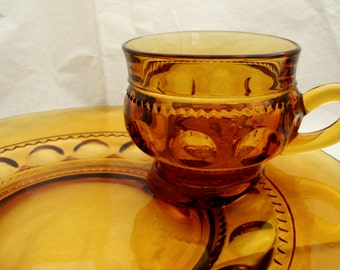 King's Crown Snack Set by Indiana Glass Amber Glass Snack Set Amber Glass Luncheon Plate Luncheon Plate and Teacup Thumbprint Glass