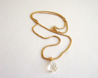 Vintage Crystal Necklace: Healing Stone vintage crystal pendant on a gold tone chain
