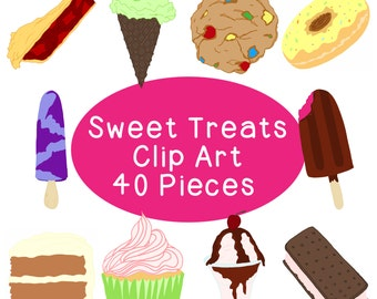 Sweet Treats Clip Art Bundle, Desserts, Ice Cream Bars, Blueberry Pie, Cookies, Cupcakes, PNG JPG, Blackline Included Commercial or Personal