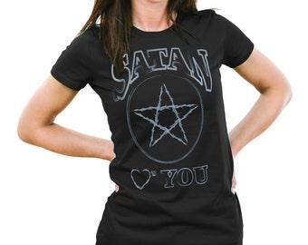 Woman's Black Pentagram T-Shirts, Funny Satan Shirts, Satan Loves You, Satan Hearts You