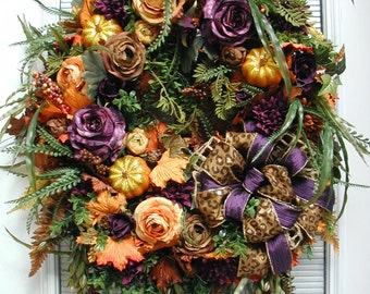 Thanksgiving Wreath Fall Wreath Purple Orange Brown Roses Mums Elegant Design Fireplace Wreath Pumpkins Wall Hanging Front Door Wreath