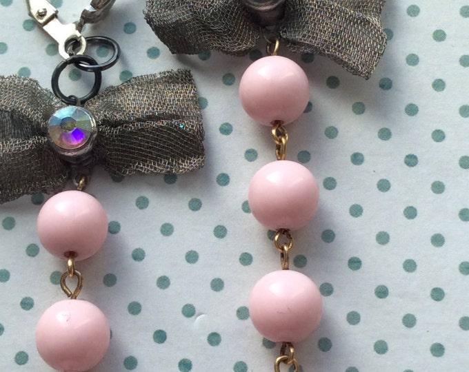 Jewelry, Earrings, Pink Pearl Earrings, Silver Bow Earring, Earrings for Women, Vintage Earrings