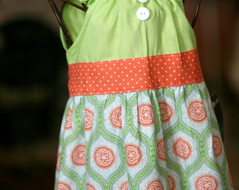 Orange Sherbert Sash Peasant Dress
