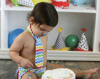 Diaper Cover and Tie Set Birthday Cake Smash Newborn Photo Prop Baby Boy Little Man Chevron Blue Yellow Red Green on White