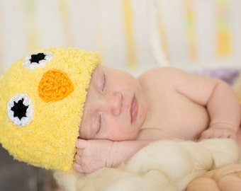 Newborn Chick Hat Photo Prop Easter Spring Bright Yellow Baby Boy Girl Unisex
