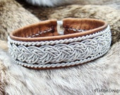 Lapland Swedish Leather Pewter Braided Sami Bracelet with Antler Button GRANE in Bronze Lambskin - Handcrafted Tribal Elegance