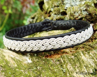 Lapland Sami Bracelet ASGARD in Black Reindeer Leather, Pewter Braid and Antler Button - Handcrafted Natural Tribal Elegance