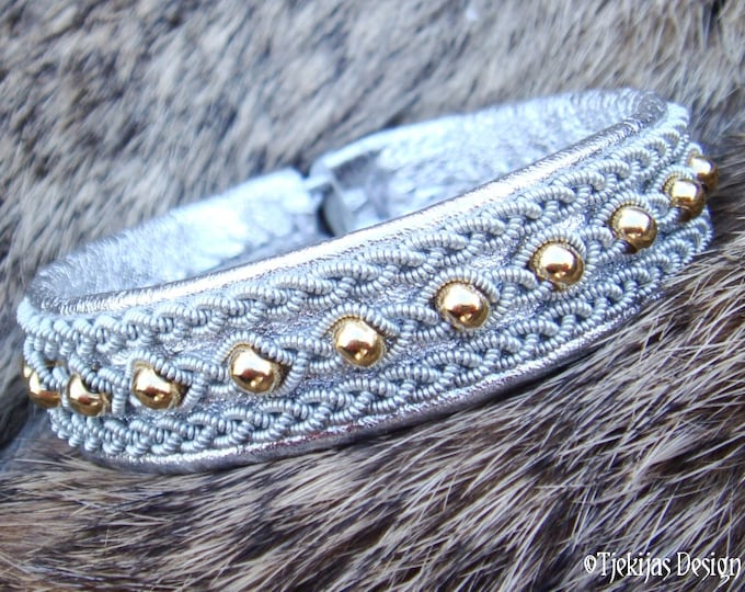 YDUN Lapland Beauty Reindeer Bracelet with 14K Goldfilled Beads braided into Spun Pewter Silver Wire on Silver Reindeer Leather Custom Made