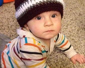 Baby Boy Maroon and White with Gray Crochet Hat/Beanie, Texas A&M, TAMU, Aggie, Mississippi State Bulldog