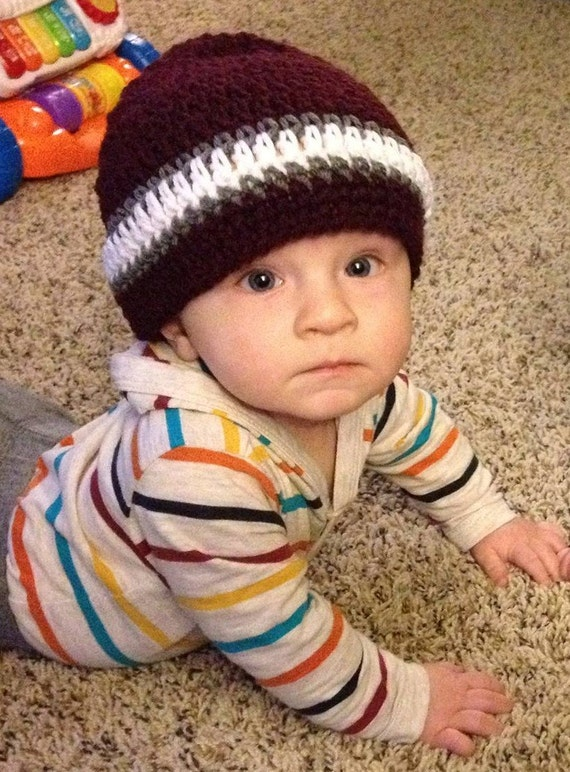 Baby Boy Maroon and White with Gray Crochet Hat Beanie Texas