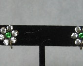 Vintage Sterling Silver Screw-back Earrings - Green & Crystal Rhinestone Flower - VERY PRETTY!