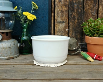 Vintage White Milk Glass Mixing Bowl for Stand Mixer Retro Kitchen