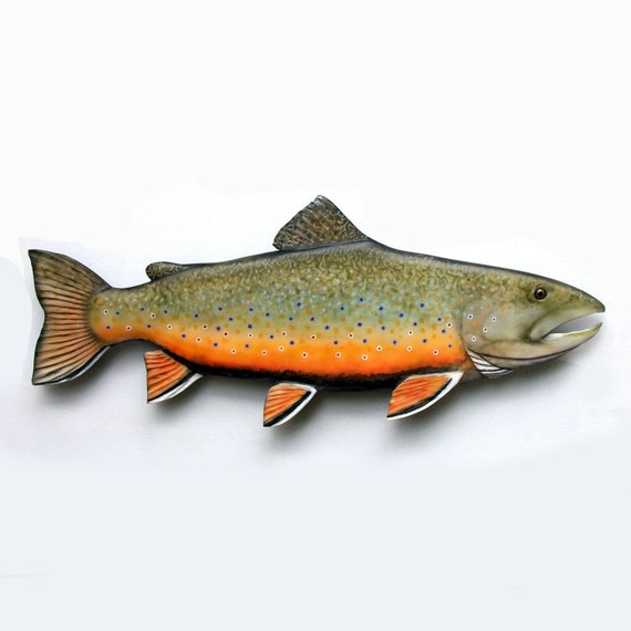 Brook trout 24 inch sculpture fish wood carving fishermens for Fish wood carving