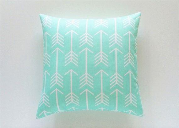 Mint Green Arrows. Throw Pillow Covers. 16x16 by thebluebirdshop