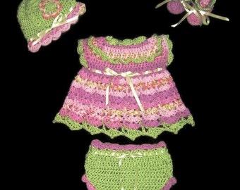 Newborn Baby Dress set Baby Girl Dress Set Knit Layette Set Purple Crochet Diaper Dress Set Crochet Infant Dress Baby Girl Layette Set