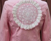 Junk Gypsy Pink Denim Jacket with Vintage Lace Trim & Doily - Upcycled Altered Clothing