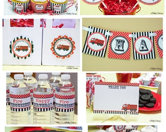 Fire Truck Birthday Party Ready To Go Package, Instant Download, Printable DIY Package