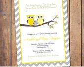 owl baby shower invitations, gender neutral baby shower invitation, modern baby shower invite, chevron, Digital, Printable file (item291)