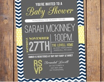 Chevron Baby Shower Invitation with polka dots, mod Baby Shower Invite gender neutral navy yellow and grey baby shower Invites (item162a)