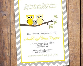 owl baby shower invitations, gender neutral baby shower invitation, modern baby shower invite, chevron, Digital, Printable file (item291)