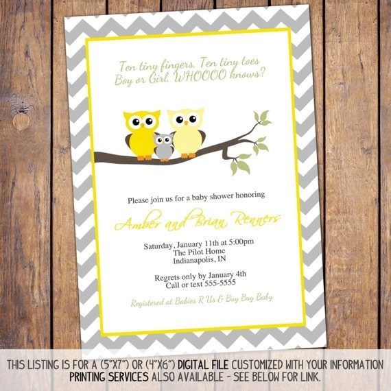 Owl baby shower invitations gender neutral by for Etsy owl wedding invitations