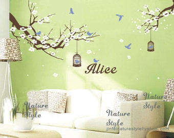cherry blossom wall decals baby name wall decals nursery wall decals tree wall cherry decor girl gift mural-Plum Blossom with Flying Birds
