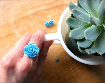 Roses and Rosettes! Cabochon Bloom Set in Sky Blue-Large Cocktail Ring and Sweet Rosette Earrings on Silver, Gold, Bronze-Mom-Spring Fashion