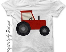 Iron on Tractor Shirt PDF - Farm Iron on Transfer / Kids Farm Birthday Party / Toddler Tractor Clothes / Red Tractor Tshirt / Print IT257-R