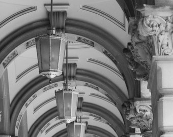 Black and White Architecture Art Print Old General Post Office Building Sydney Australia Archway Industrial Modern Rustic Home Decor