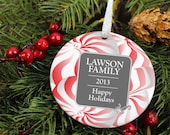 Peppermint Swirl Family Christmas - Happy Holidays - Personalized Porcelain Ceramic Holiday Ornament - orn26 - Peachwik - Custom Family Name