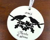 LoveBird Ravens on Oak Branch Christmas Ornament - Personalized Porcelain Couples Holiday Ornament Gift - Newlyweds - orn157 - Custom Colors
