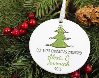 Our First Christmas Engaged Ornament X-Mas Tree - Personalized Porcelain Engagement Holiday Ornament Gift - orn169 - Peachwik - Custom Color