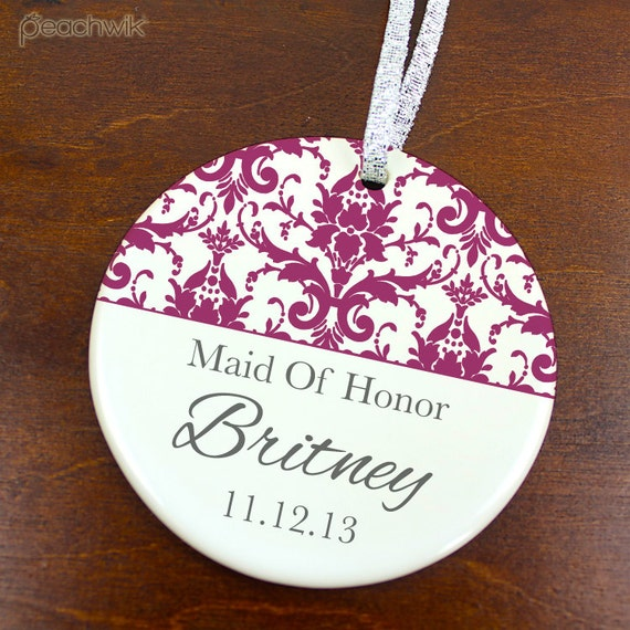 1 Year Wedding Anniversary Gift From Maid Of Honor : Maid of Honor Ornament Wedding Favor Anniversary KeepsakeDamask ...