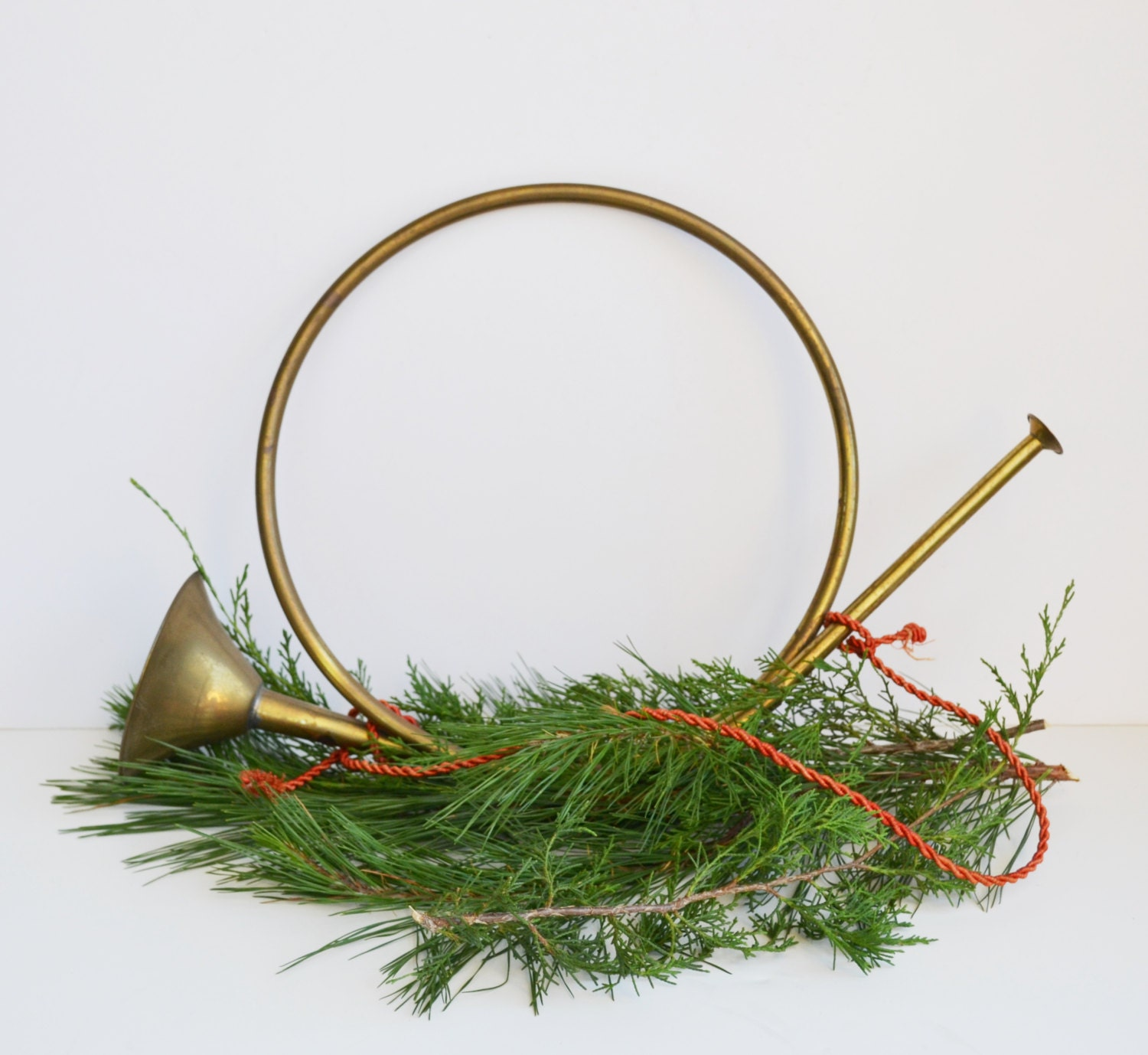 Vintage Brass French Horn Wall Hanging Christmas Decoration