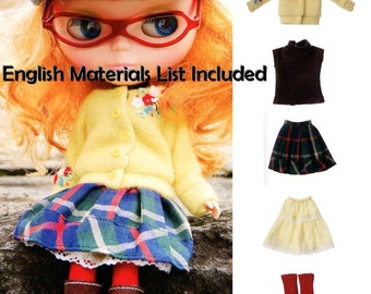 Blythe Hipster 6 pieces Outfit Sewing Pattern PDF English templates names, English material list and sewing info included
